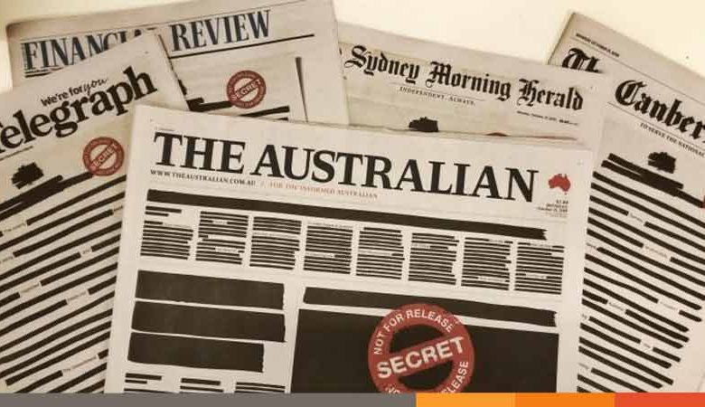 Photo of প্রথম পৃষ্টা কালো রেখে অস্ট্রেলিয়ান সংবাদপত্রগুলোর বিরল প্রতিবাদ